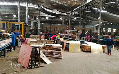 建筑模板厂家林世界木业的生产车间中的先进设备